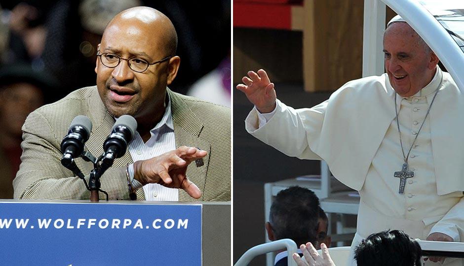 Mayor Nutter | Jeff Fusco. Pope Francis | miqu77 / Shutterstock.com