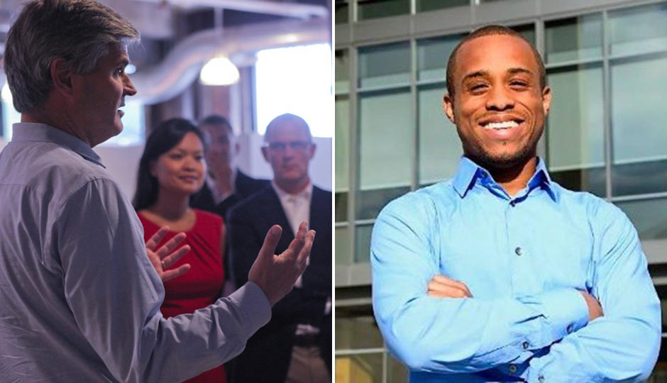 Left: Steve Case talking to a group of entrepreneurs in Detroit during a previous Rise of the Rest tour. (Photo courtesy of Revolution.) Right, Christopher Gray, via LinkedIn