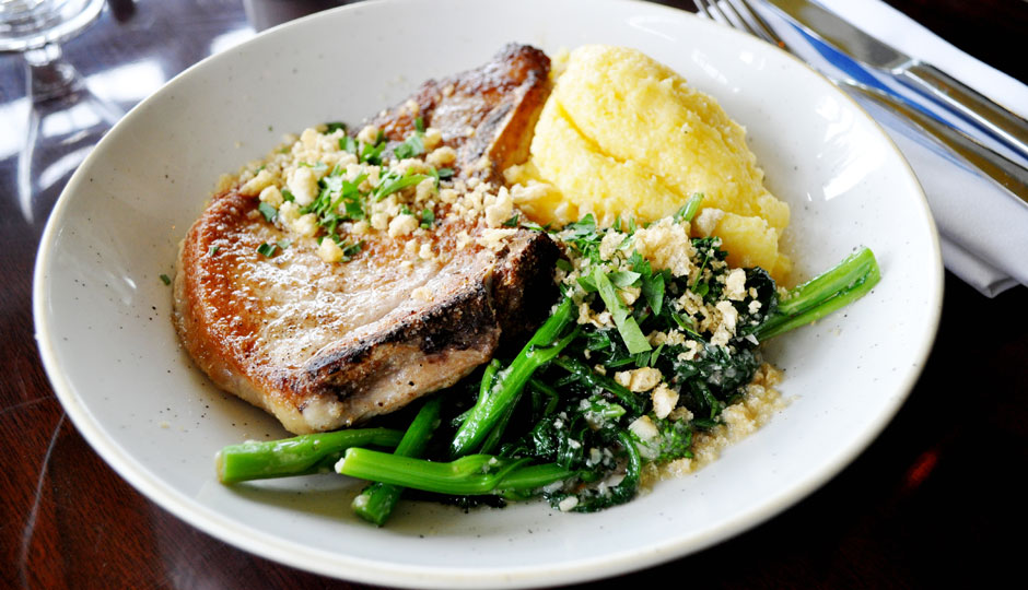 Passyunk Pork - pork chop, sharp provolone polenta