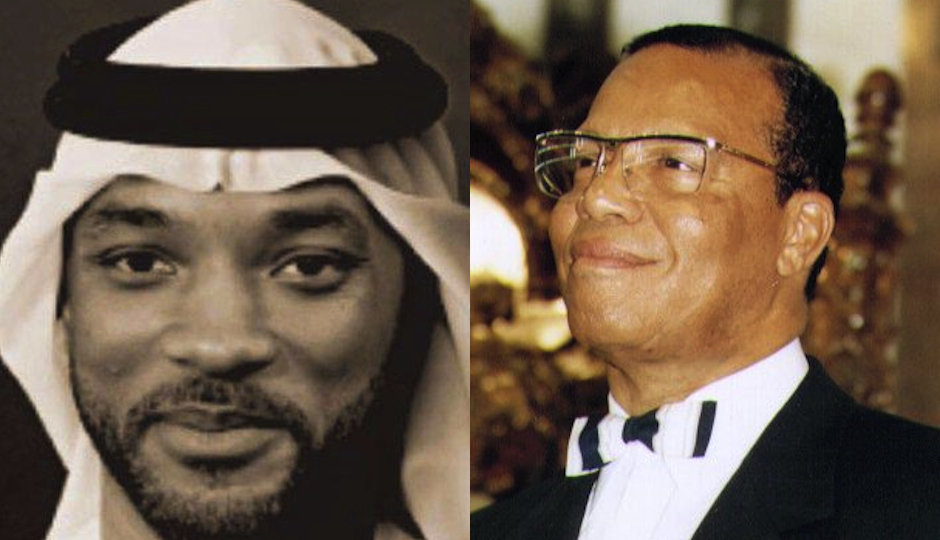 Will Smith in an apparently manufactured image of him wearing a kaffiyeh that has been circulating online and Louis Farrakhan via Wikimedia Commons.