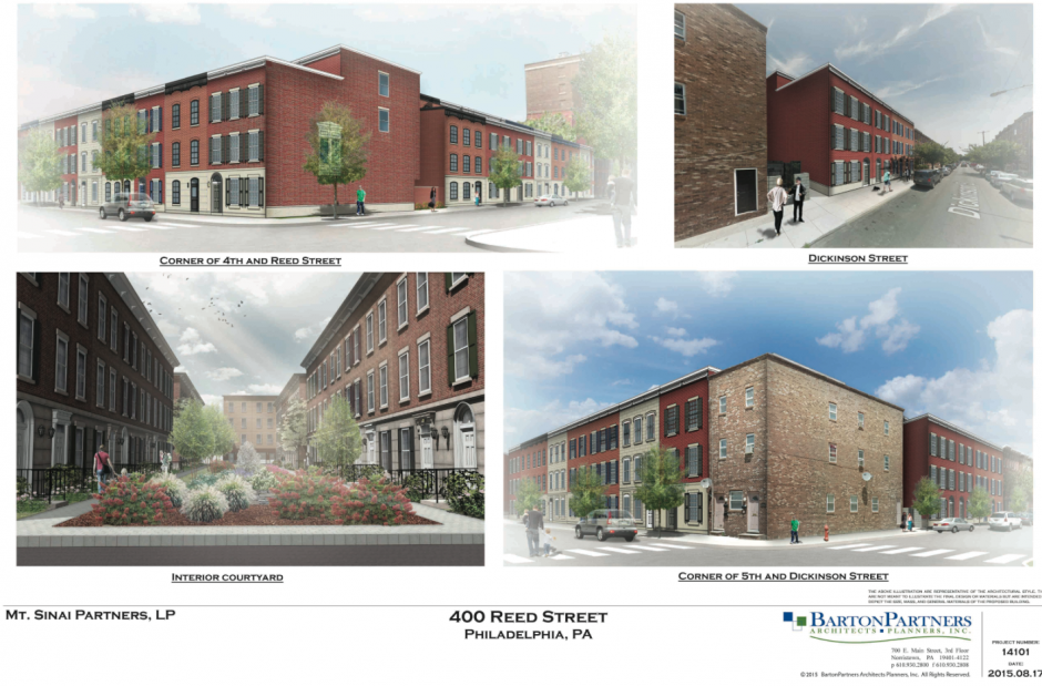 The new plans for Mt. Sinai include 95 town homes and 4 rain gardens   Rendering: Barton Partners