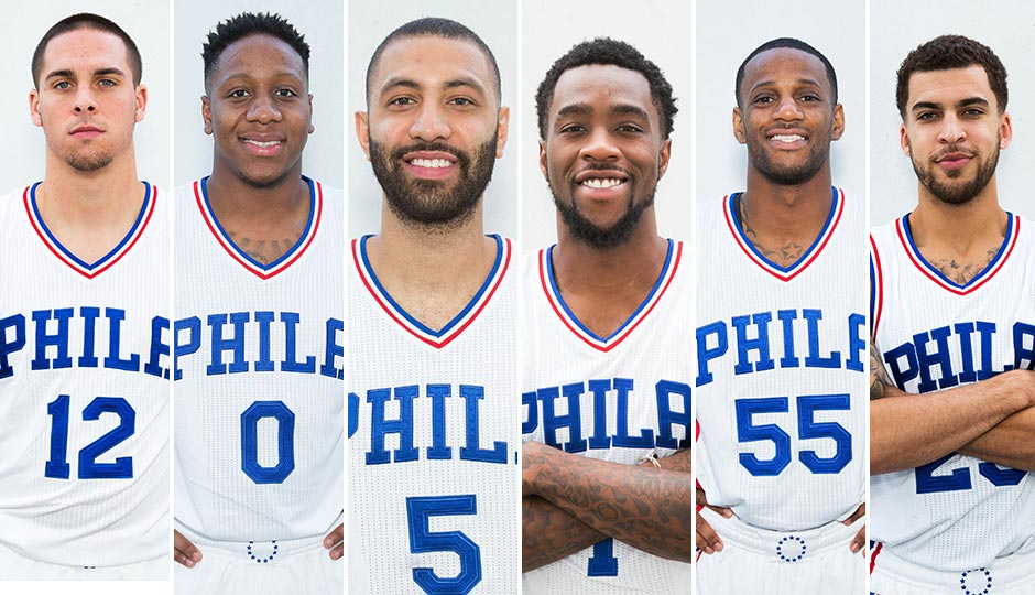 The 76ers point guard candidates, from left, T.J. McConnell, Isaiah Canaan, Kendall Marshall, Tony Wroten, Pierre Jackson and Scottie Wilbekin. Photos | Bill Streicher, USA Today Sports