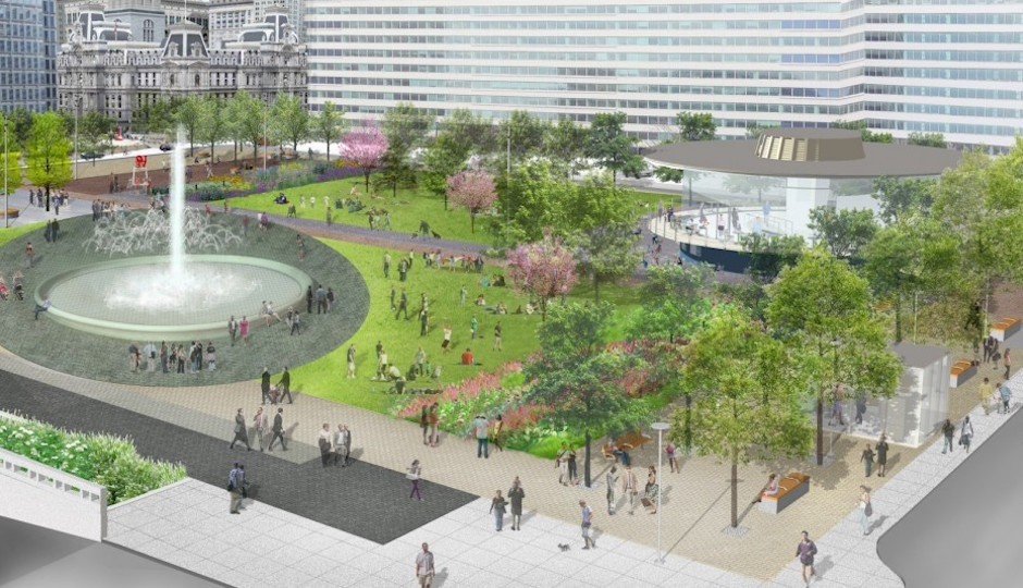 Aerial view of the new LOVE Park | Renderings: Hargreaves and Associates, KieranTimberlake and Philadelphia Parks and Recreation