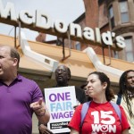 Pennsylvania State Sen. Daylin Leach, D-Montgomery, at a May Day demonstration calling for a raise of the minimum wages to $15 an hour Friday, May 1, 2015, at a McDonald's restaurant in Philadelphia. Leach is purposing legislation to increase the minimum wages to $15, index it to inflation, and eliminated the tipped minimum wage. (AP Photo/Matt Rourke)