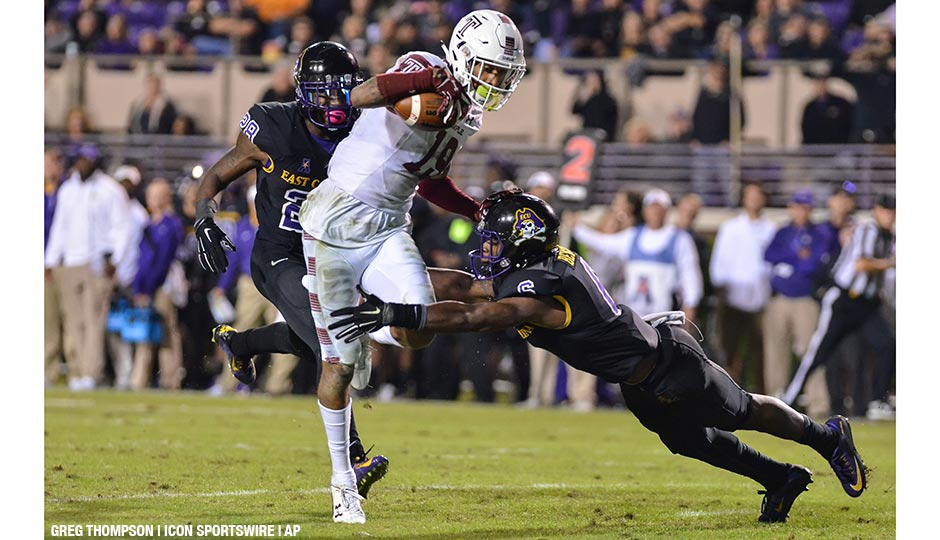 Temple wide receiver Robby Anderson catches the game-winning touchdown pass during the NCAA Football game between the Temple Owls and the East Carolina Pirates at Dowdy-Ficklen Stadium in Greenville, North Carolina. Temple beat East Carolina 24-14 on October 22nd