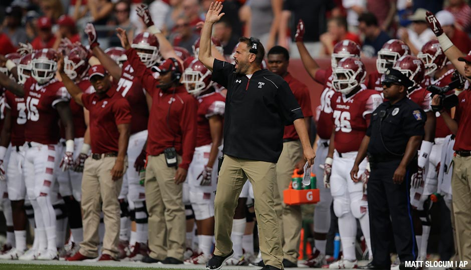Temple's Matt Rhule in action during an NCAA college football game against Penn State, Saturday, Sept. 5, 2015, in Philadelphia.
