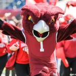 The Temple Owl mascot leads the team onto the field during an October 10, 2015, game against Tulane at Lincoln Financial Field.