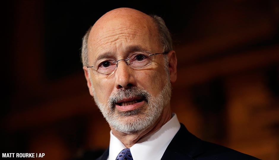 Pennsylvania Gov. Tom Wolf speaks with members of the media Wednesday, Oct. 7, 2015, at the state Capitol in Harrisburg, Pa. Gov. Tom Wolf's hopes of ending Pennsylvania's 99-day-old state budget impasse were dashed Wednesday when nine of his fellow Democrats joined all House Republicans to vote against his revised plan to raise billions in income and gas drilling taxes.
