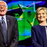 Candidates Bernie Sanders and Hillary Clinton at the October 13, 2015, Democratic debate.