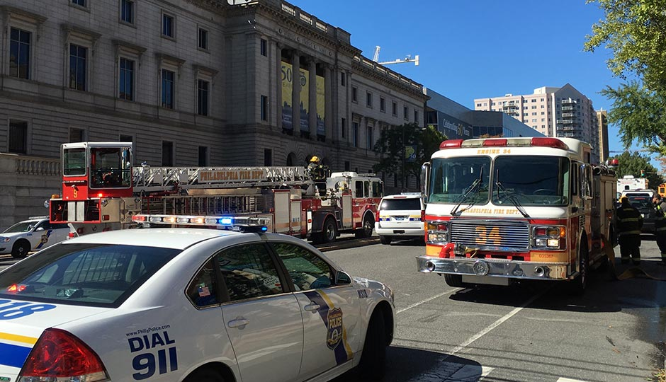 Emergency response at Community College of Philadelphia today. Photo | Jared Shelly