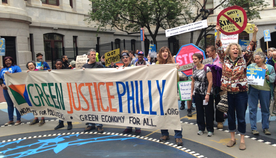 The Green Justice Philly rally in Center City on Wednesday.