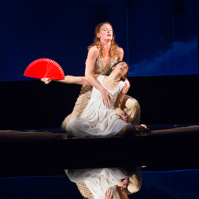 Krista Apple as Aphrodite and Leigha Kato as Myrrha. Photo by Mark Garvin.