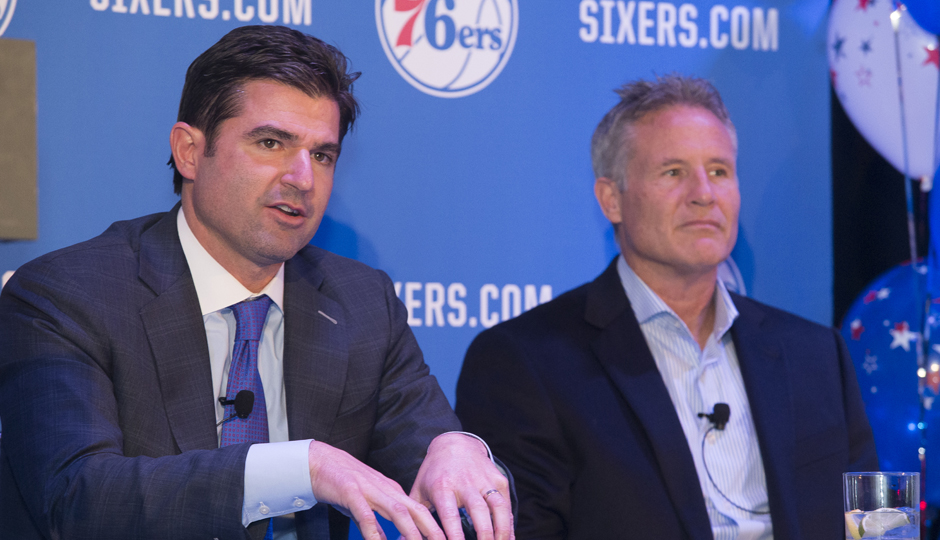 Sixers CEO Scott O'Neil and Coach Brett Brown. (Michelle Farsi/Courtesy of the Philadelphia 76ers)