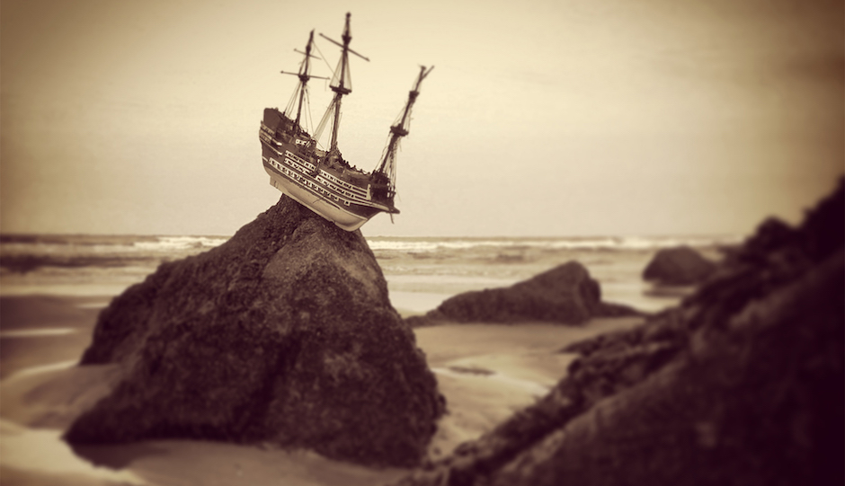 Ship on rock