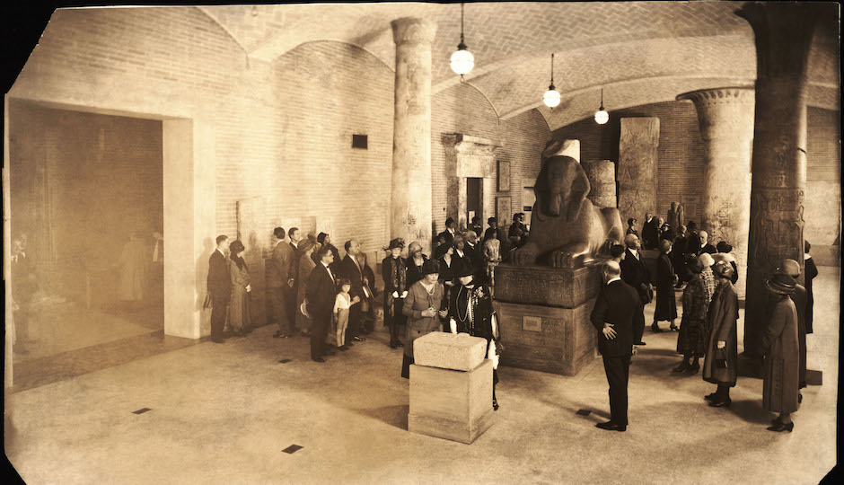 The Sphinx when it was moved to the Lower Egyptian Gallery in 1926.| Photo courtesy of Penn Museum