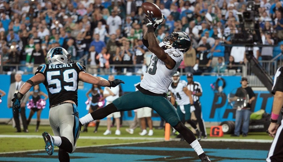 Josh Huff drops a potential touchdown. (USA Today Sports)