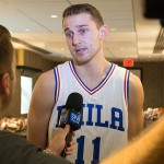 Philadelphia 76ers guard Nik Stauskas (11) talks with the media during media day at Stockton Seaview Hotel. Photo | Bill Streicher-USA TODAY Sports