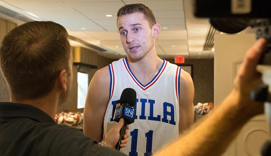 Philadelphia 76ers guard Nik Stauskas (11) talks with the media during media day at Stockton Seaview Hotel. Photo | Bill Streicher-USA TODAY Sports
