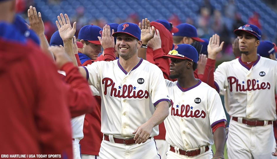 Philadelphia Phillies right fielder Jeff Francoeur (3), center fielder Odubel Herrera (37) and left fielder Aaron Altherr (40) celebrate win in final game of the season at Citizens Bank Park. The Phillies defeated the Marlins, 7-2.