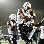 Temple Owls wide receiver Robby Anderson (19) celebrates his touchdown during the second half against the Charlotte 49ers at Jerry Richardson Stadium on October 2, 2015 in; Charlotte, NC.