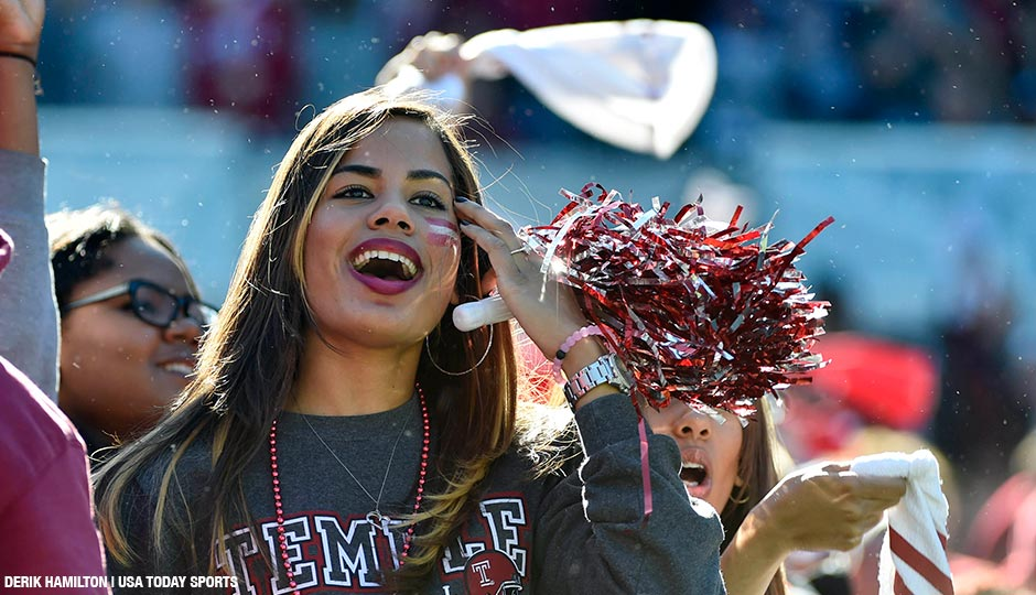 Temple Owls fans celebrate a touchdown against the Tulane Green Wave at Lincoln Financial Field on October 10th. The Temple Owls won 49-10.
