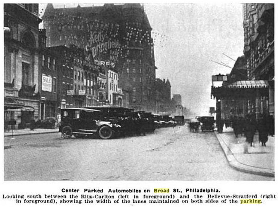 1917 Automobile Trade News - Broad Street median parking