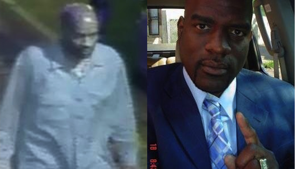 Left: Surveillance image of arson suspect released by the Bureau of Alcohol, Tobacco and Firearms. Right: Suspect Stephen Pettiway in his Twitter profile photo.