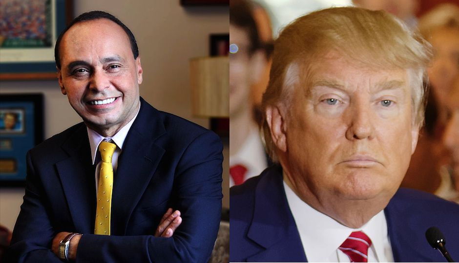 Illinois Congressman Luis Gutierrez in his official photo / Presidential candidate Donald Trump by Michael Vadon via Wikimedia Commons