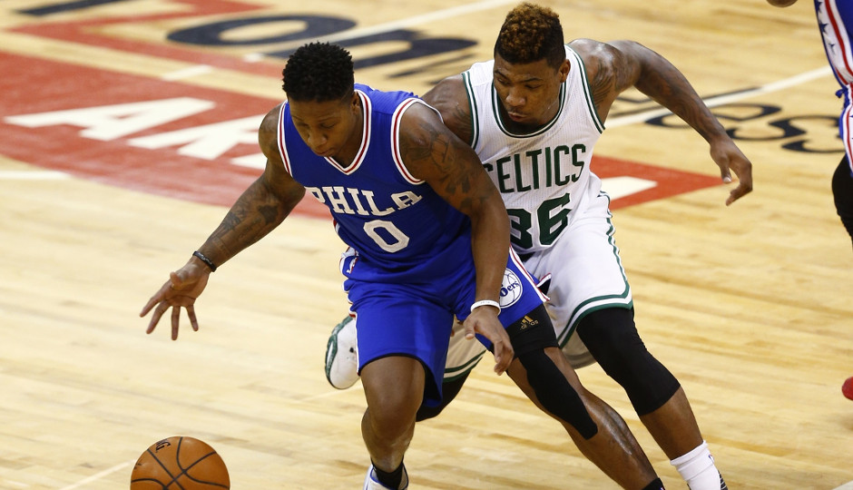 Celtics guard Marcus Smart defends Isaiah Canaan during the preseason   Mark L. Baer-USA TODAY Sports