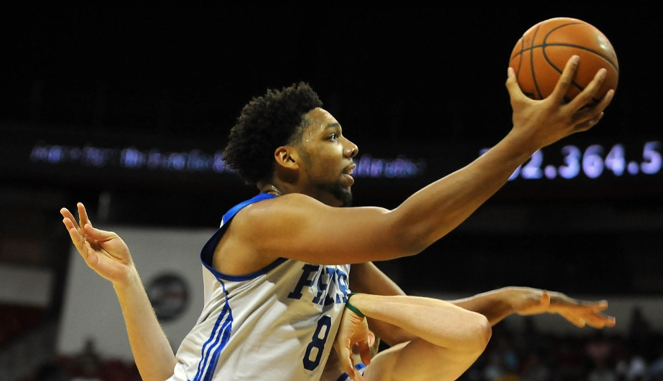 Jahlil Okafor plays against the New York Knicks in the Las Vegas Summer League. Integrating Okafor into the offense will be a priority for Brett Brown this season.   Stephen R. Sylvanie, USA TODAY Sports