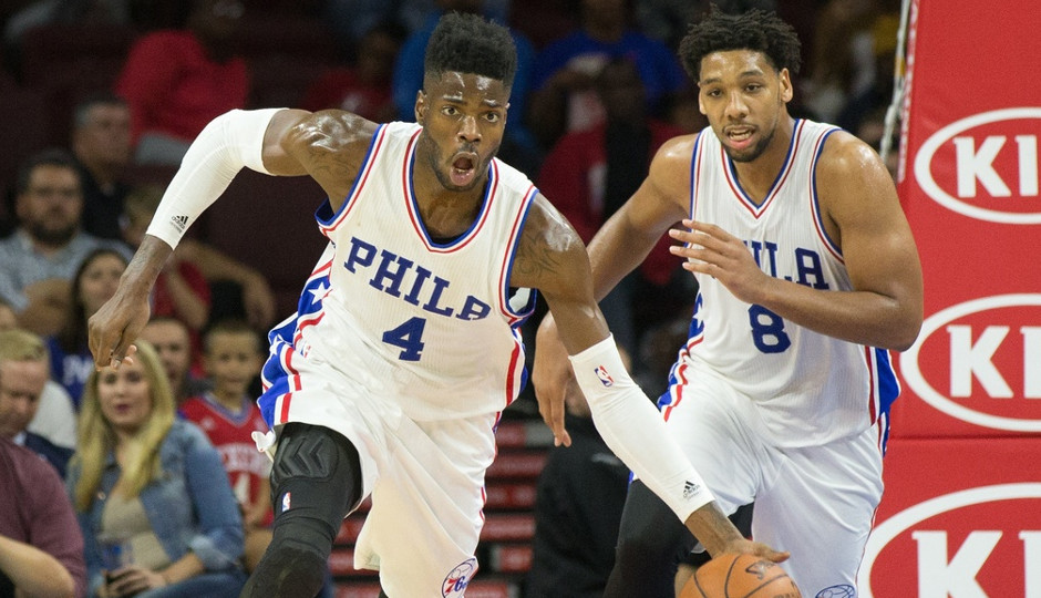 Both Nerlens Noel and Jahlil Okafor will be out of the lineup when the Sixers take on the New York Knicks in preseason basketball tonight at Madison Square Garden | Bill Streicher-USA TODAY Sports