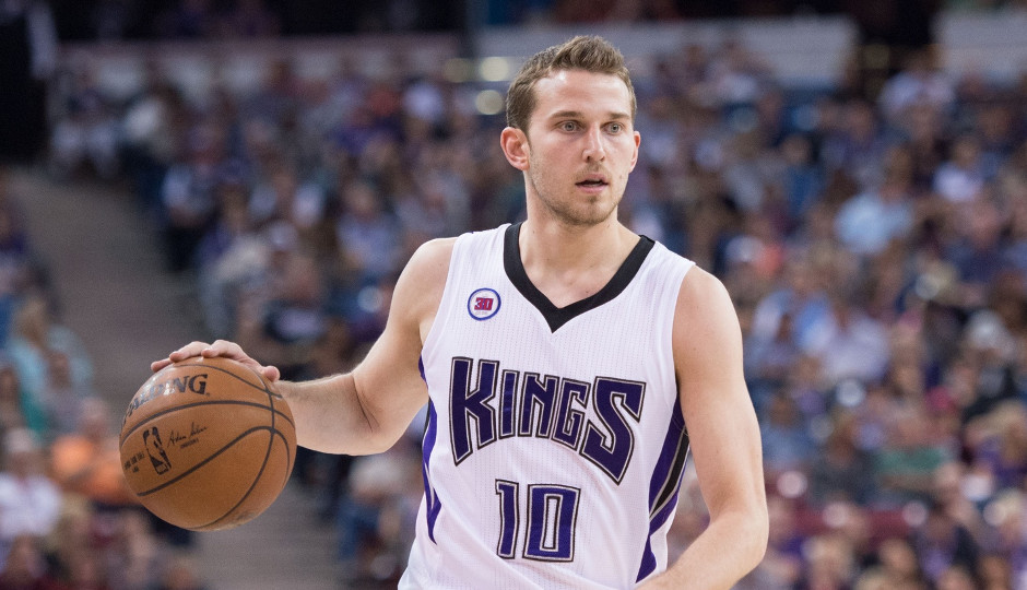 Nik Stauskas, acquired by the 76ers from the Sacramento Kings this offseason, will miss teh next two weeks as a result of stress reaction in his right tibia. | Kyle Terada, USA TODAY Sports