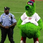 The Phillie Phanatic harasses a police officer