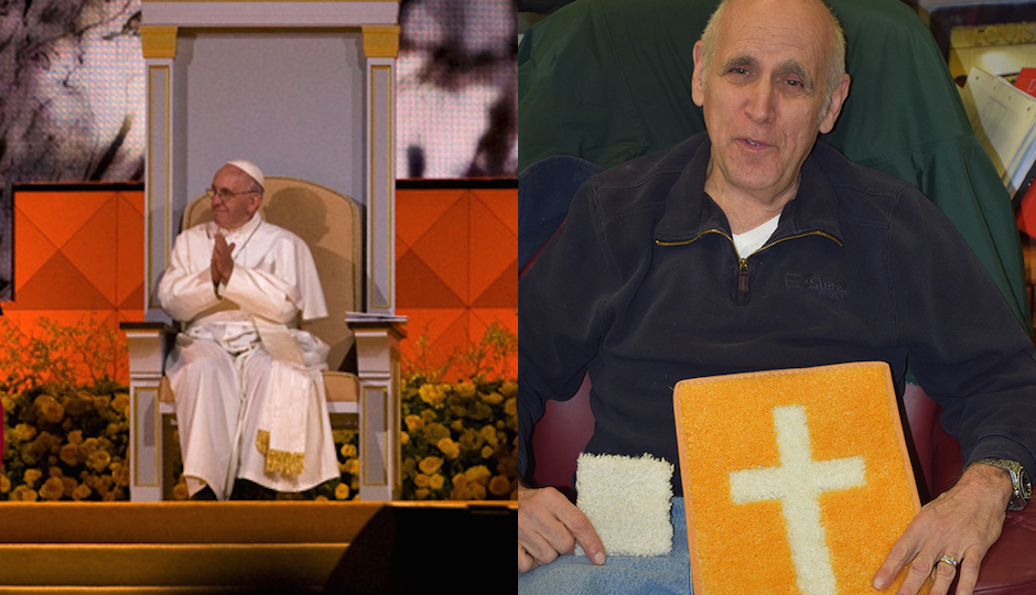 Left: Pope Francis in Philadelphia, with carpet laid by NJ's Event Carpet beneath his feet (Photo by Bradley Maule) / Right: Event Carpet's Ted Resnick, holding a square of white pope carpet and a cross made from white and gold pope carpet (Photo courtesy Event Carpet)