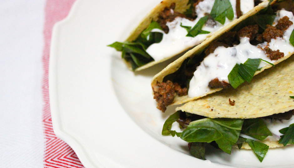 Beef and eggplant tacos with Swiss chard and yogurt sauce | Photo by Becca Boyd
