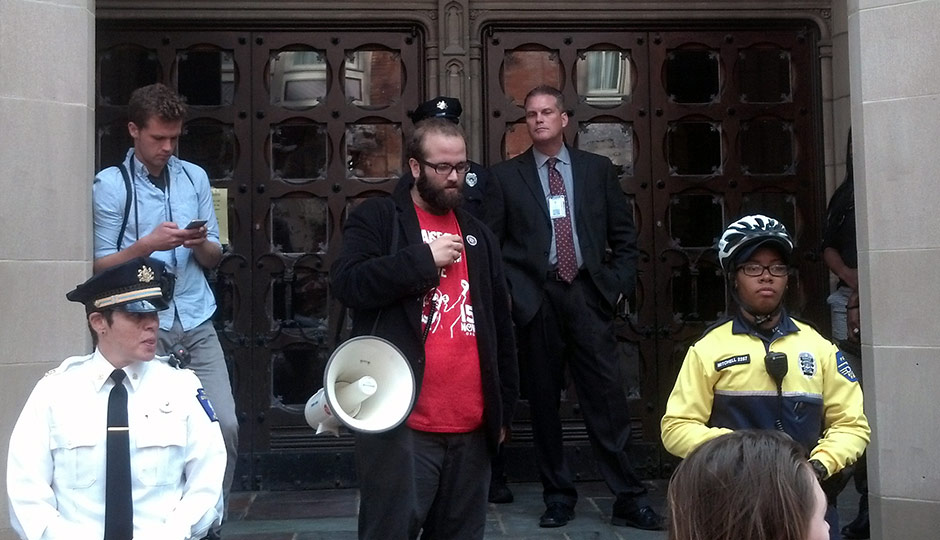 Protesters outside Sullivan Hall, office of Temple president Neil Theobald