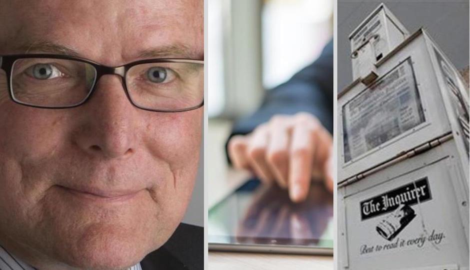 David Boardman, dean of Temple University's School of Media and Communication, left.