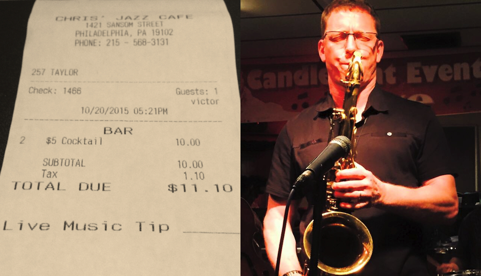 """Left: A receipt from Chris' Jazz Cafe / Right: Longtime Philly saxophonist Victor North, who cautiously calls the tipping policy """"a worthy experiment."""""""