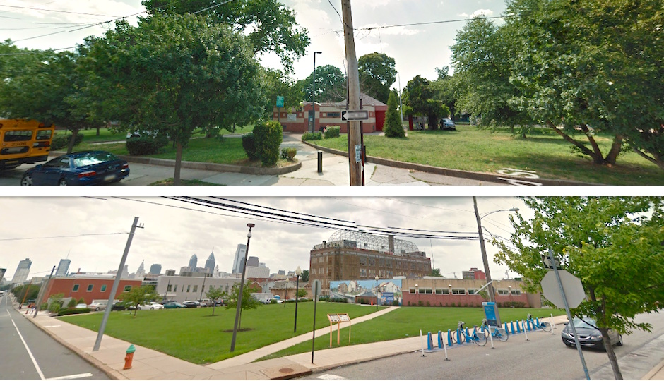 Top: Wharton Square; bottom: John F. Street Community Center | Images via Google Street View