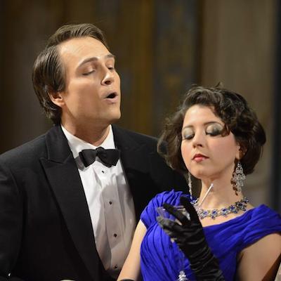 "Alek Shrader and Lisette Oropesa in ""La Traviata."""