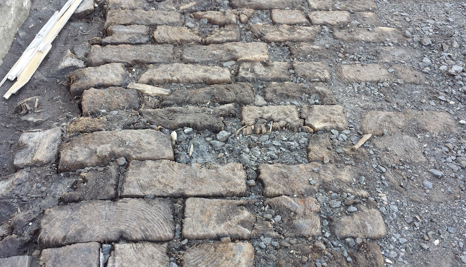 A closer look at newly discovered wooden street in Philadelphia   Photo: Ted Savage