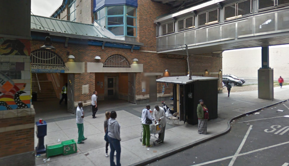 The El station at 56th and Market streets, where emergency crews responded to report of a man on the tracks. | Google Street View
