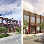 Eastern Building via Google Streetview | Right: Rendering of Eastern Lofts