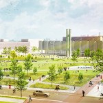 Rendering: Perspective view of the proposed central New Green at Temple University's main campus | Credit: LRSLAstudio