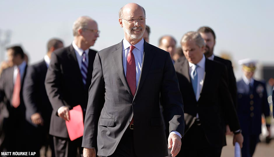 Gov. Tom Wolf arrives for a news conference Wednesday, Nov. 4, 2015, at the Southport Marine Terminal Complex in Philadelphia.