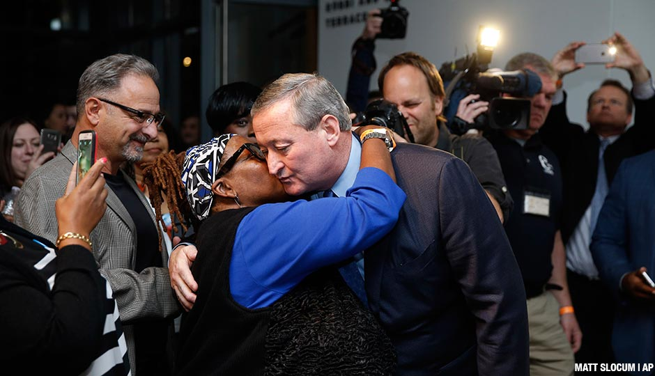 Philadelphia Democratic mayoral candidate Jim Kenney greets a supporter during an election night event at the National Museum of American Jewish History, Tuesday, Nov. 3, 2015, in Philadelphia. Kenney, a former longtime councilman, overwhelmed his Republican challenger, business executive Melissa Murray Bailey, in a city that hasn't had a GOP mayor since 1952.
