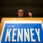 Philadelphia Democratic mayoral candidate Jim Kenney gives a thumbs up while speaking during an election night event at the National Museum of American Jewish History, Tuesday, Nov. 3, 2015.