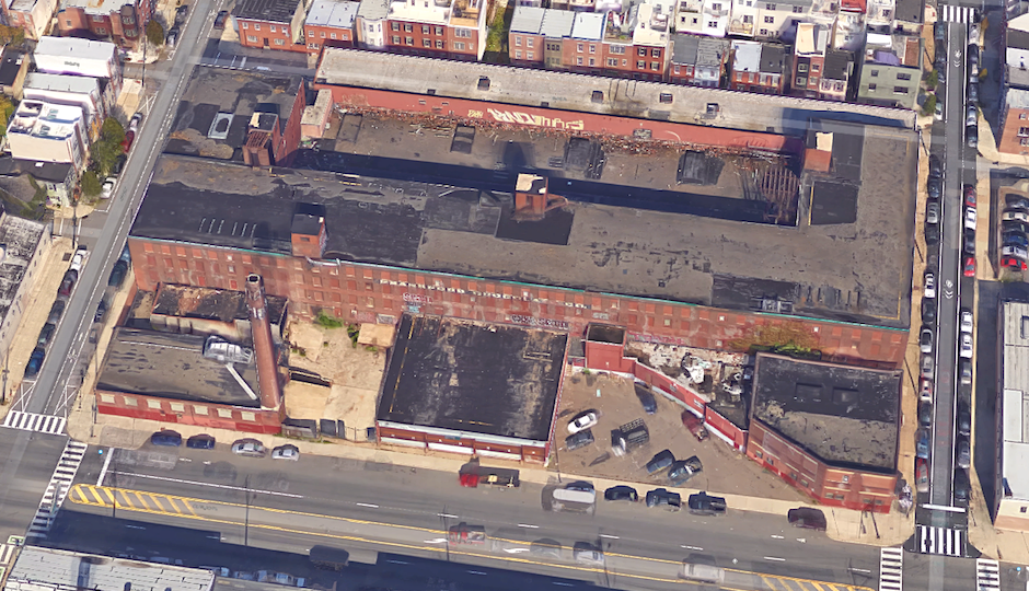 The Frankford Chocolate Factory on Washington Avenue between 21st and 22nd Streets | Image via Google Earth