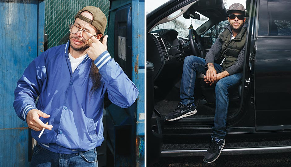 """Ed Bassmaster as the character """"Always Teste,"""" left, and as himself. Photography by Gene Smirnov"""