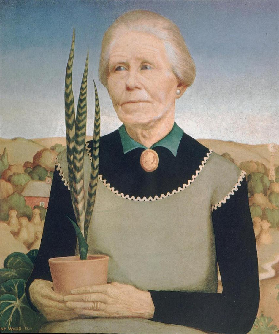 Wood, Grant--Woman With Plants--1929